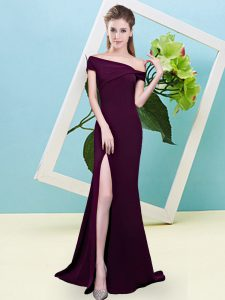 Customized Off The Shoulder Sleeveless Zipper Dama Dress for Quinceanera Burgundy Elastic Woven Satin