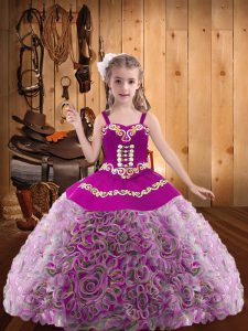 Enchanting Floor Length Lace Up Little Girl Pageant Gowns Multi-color for Sweet 16 and Quinceanera with Embroidery and Ruffles