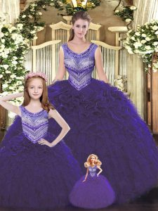 Cute Tulle Scoop Sleeveless Lace Up Beading and Ruffles Vestidos de Quinceanera in Dark Purple