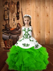Cheap Floor Length Little Girl Pageant Gowns Straps Sleeveless Lace Up