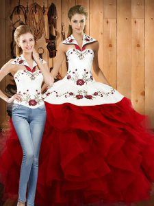 Best Selling Wine Red Two Pieces Halter Top Sleeveless Satin and Organza Floor Length Lace Up Embroidery and Ruffles Sweet 16 Quinceanera Dress