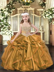 Discount Sleeveless Lace Up Floor Length Beading and Ruffles Little Girls Pageant Gowns