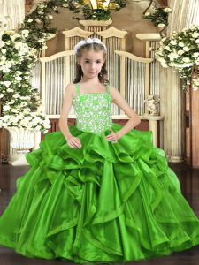 Green Ball Gowns Straps Sleeveless Organza Floor Length Lace Up Beading and Ruffles Kids Formal Wear