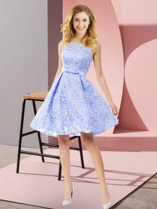 Customized Knee Length A-line Sleeveless Lavender Dama Dress for Quinceanera Zipper