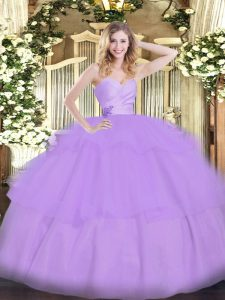 Beading and Ruffled Layers 15th Birthday Dress Lavender Lace Up Sleeveless Floor Length