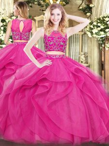 Exceptional Floor Length Zipper Sweet 16 Quinceanera Dress Hot Pink for Military Ball and Sweet 16 and Quinceanera with Beading and Ruffles
