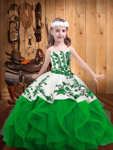 Admirable Green Lace Up Pageant Dress Toddler Embroidery and Ruffles Sleeveless Floor Length