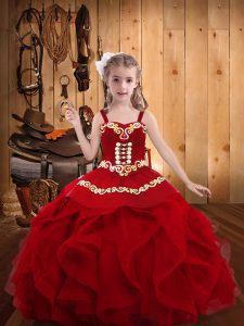 Best Sleeveless Floor Length Embroidery and Ruffles Lace Up Pageant Dress Wholesale with Wine Red
