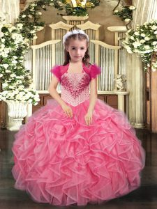 Adorable Sleeveless Beading and Ruffles Lace Up Glitz Pageant Dress