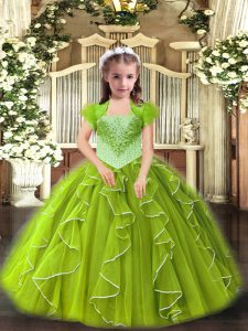 Sleeveless Beading and Ruffles Lace Up Pageant Dress