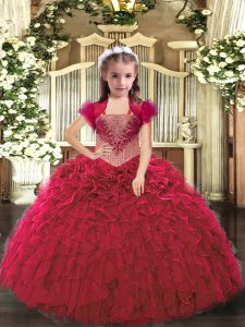 High Quality Red Organza Lace Up Straps Sleeveless Floor Length Pageant Dress Beading and Ruffles