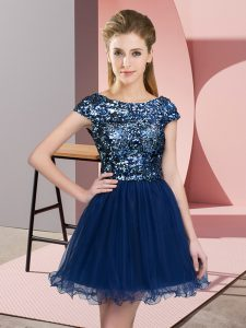 Fashion Cap Sleeves Zipper Mini Length Sequins Court Dresses for Sweet 16