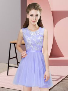 Designer Scoop Sleeveless Quinceanera Court of Honor Dress Mini Length Lace Lavender Tulle