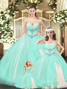 Noble Aqua Blue Ball Gowns Lace Sweetheart Sleeveless Beading Floor Length Lace Up Vestidos de Quinceanera