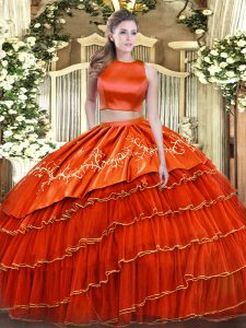 Dynamic Orange Red Sleeveless Tulle Criss Cross 15th Birthday Dress for Military Ball and Sweet 16 and Quinceanera