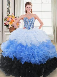 Flare Floor Length Ball Gowns Sleeveless Multi-color Quinceanera Gown Lace Up