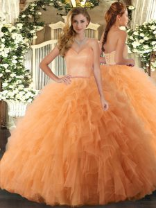 Tulle Sleeveless Floor Length Quinceanera Dresses and Ruffles