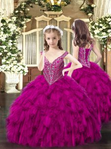 Fancy Beading and Ruffles Girls Pageant Dresses Fuchsia Lace Up Sleeveless Floor Length