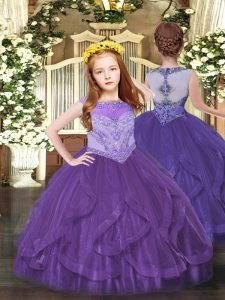 Attractive Scoop Sleeveless Pageant Dresses Floor Length Beading and Ruffles Purple Tulle