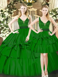 Fashionable Ball Gowns 15 Quinceanera Dress Dark Green Straps Organza Sleeveless Floor Length Lace Up