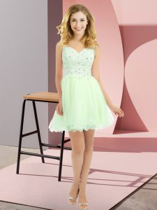 Yellow Green V-neck Side Zipper Beading and Lace Dama Dress Sleeveless