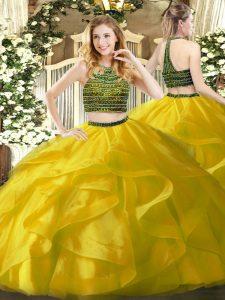 Custom Made Halter Top Sleeveless Sweet 16 Quinceanera Dress Floor Length Beading and Ruffles Yellow Organza