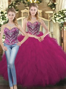 Two Pieces Sweet 16 Dresses Fuchsia Sweetheart Organza Sleeveless Floor Length Lace Up