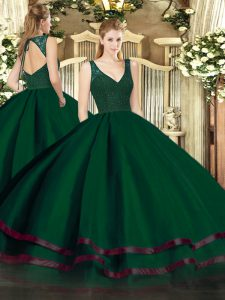 Dark Green Organza Backless V-neck Sleeveless Floor Length Sweet 16 Quinceanera Dress Beading and Lace and Ruffled Layers