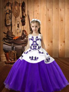 Straps Sleeveless Lace Up Pageant Dress for Teens Purple Organza