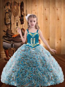 Fabric With Rolling Flowers Sleeveless Floor Length Little Girl Pageant Dress and Embroidery and Ruffles