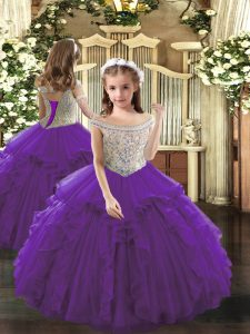 Floor Length Purple Pageant Dresses Off The Shoulder Sleeveless Lace Up