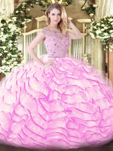 Bateau Sleeveless Sweep Train Zipper 15 Quinceanera Dress Lilac Tulle