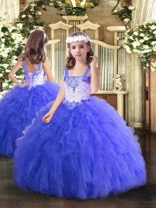 Sleeveless Tulle Floor Length Lace Up Pageant Dresses in Blue with Beading and Ruffles