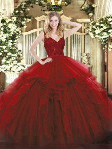 Graceful Sleeveless Beading and Ruffles Zipper Quinceanera Dress