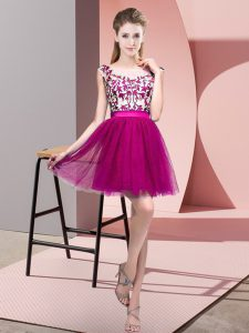 Mini Length A-line Sleeveless Fuchsia Quinceanera Court of Honor Dress Zipper