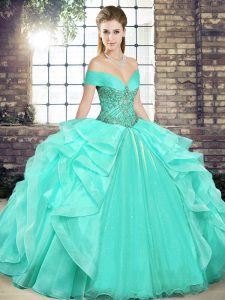 Off The Shoulder Sleeveless Lace Up Sweet 16 Quinceanera Dress Apple Green Organza