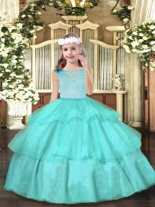 Aqua Blue Organza Zipper Scoop Sleeveless Floor Length High School Pageant Dress Beading