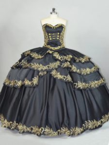 Stunning Sweetheart Sleeveless Quinceanera Dress Floor Length Embroidery Black Satin
