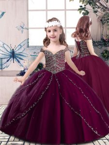 Simple Burgundy Ball Gowns Tulle Straps Sleeveless Beading Floor Length Lace Up Little Girls Pageant Dress