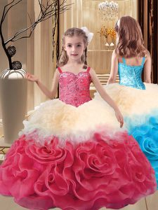Hot Selling Multi-color Fabric With Rolling Flowers Lace Up Straps Sleeveless Floor Length Little Girl Pageant Gowns Beading