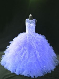 Dramatic Scoop Sleeveless Lace Up Sweet 16 Dresses Lavender Tulle
