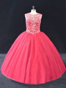 Romantic Floor Length Coral Red 15 Quinceanera Dress Scoop Long Sleeves Lace Up