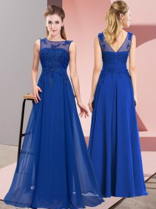 Royal Blue Sleeveless Floor Length Beading and Appliques Zipper Quinceanera Dama Dress