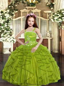 New Style Olive Green Straps Neckline Beading and Ruffles Little Girl Pageant Dress Sleeveless Lace Up
