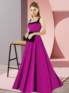 Inexpensive Floor Length Fuchsia Vestidos de Damas Square Sleeveless Zipper