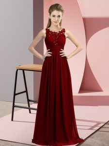 Superior Burgundy Zipper Quinceanera Dama Dress Beading and Appliques Sleeveless Floor Length