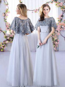 Stunning Grey Straps Neckline Appliques Damas Dress Sleeveless Lace Up