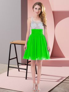 Mini Length Green Quinceanera Court of Honor Dress Scoop Sleeveless Side Zipper