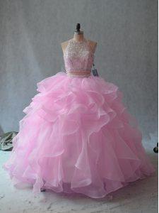 Sleeveless Backless Floor Length Beading and Ruffles Sweet 16 Dresses