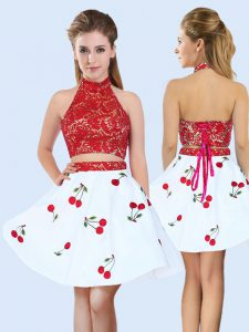 Admirable Halter Top Sleeveless Satin Quinceanera Court of Honor Dress Lace and Pattern Lace Up